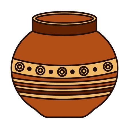 disegno dell'illustrazione di vettore dell'icona popolare del vaso di ceramica indiano Vettoriali