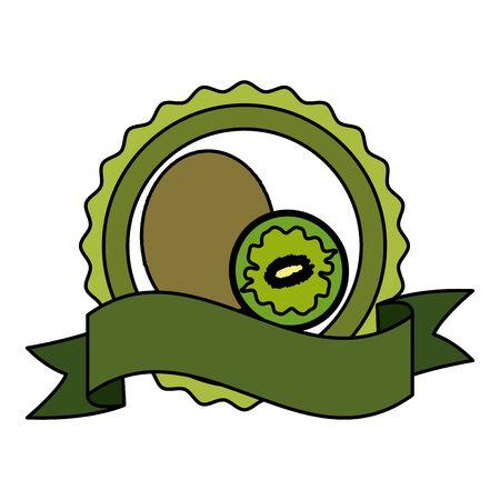 kiwi tropical fruits badge ribbon vector illustration