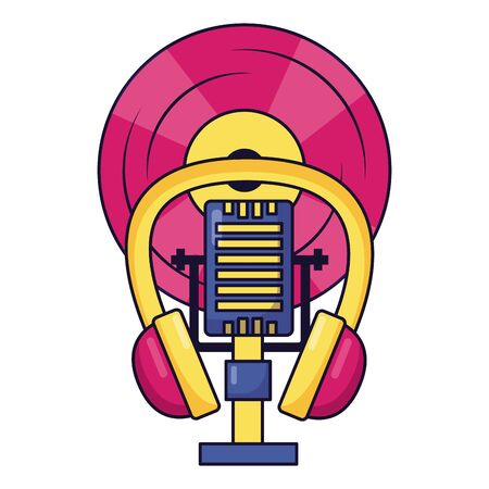 microphone earphones vinyl music colorful background vector illustration Illustration