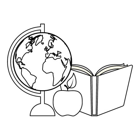 world map book apple back to school vector illustration 일러스트