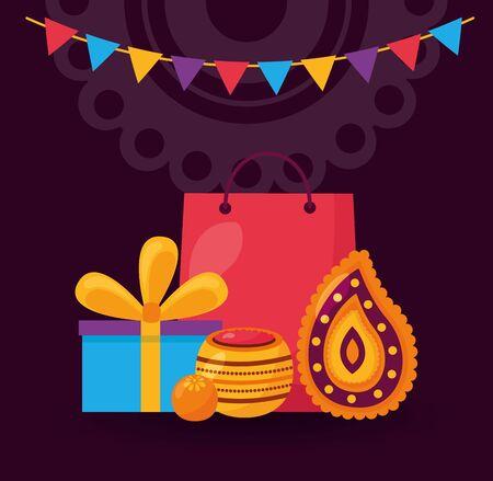 pennants gifts candles raksha bandhan vector illustration