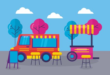 food truck outdoor service booth snack vector illustration  イラスト・ベクター素材