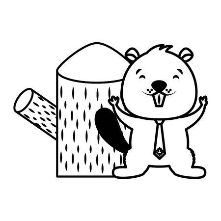 Castor y tocón de árbol en la ilustración de vector de fondo blanco