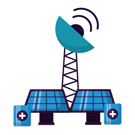 solar panels antenna battery charge energy power vector illustration