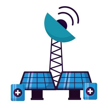solar panels antenna battery charge energy power vector illustration 版權商用圖片 - 130174486