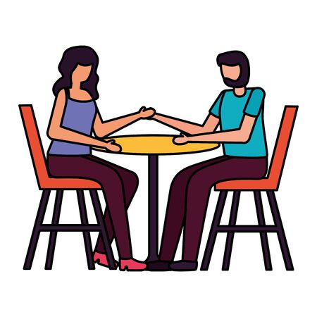young lovers couple seated in restaurant table vector illustration design