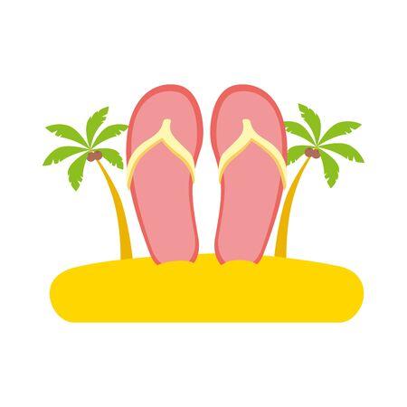 beach vacations sandals palms vector illustration design