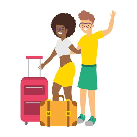 happy couple with suitcases summer time vector illustration