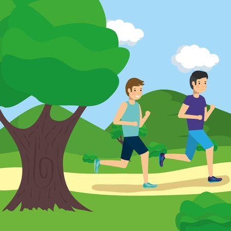 outdoor two men running in the park activity vector illustration Stock Illustratie