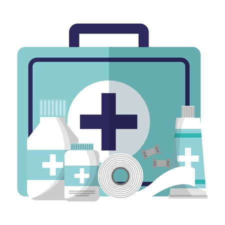 medical suitcase tube bottle medicine pharmacy bandage equipment vector illustration