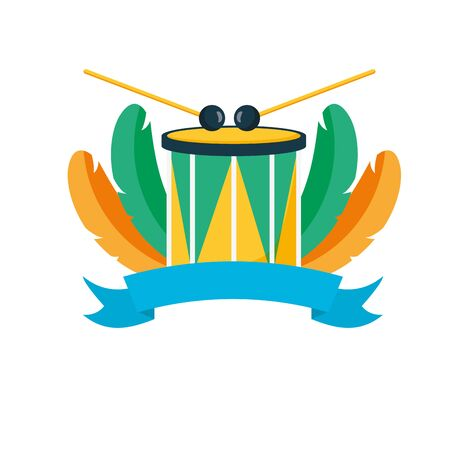 drum sticks brazil carnival banner vector illustration