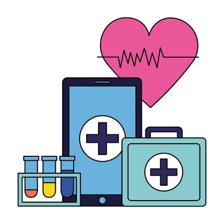 medical smartphone suitcase flasks heartbeat vector illustration Vektoros illusztráció