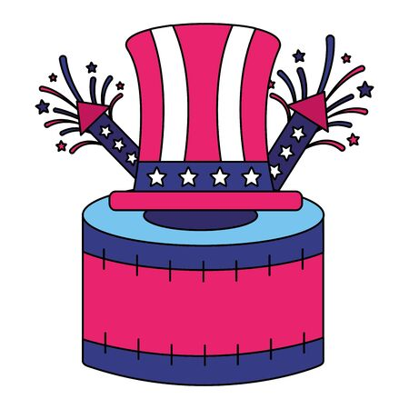 hat drum rocket fireworks american happy independence day vector illustration  イラスト・ベクター素材
