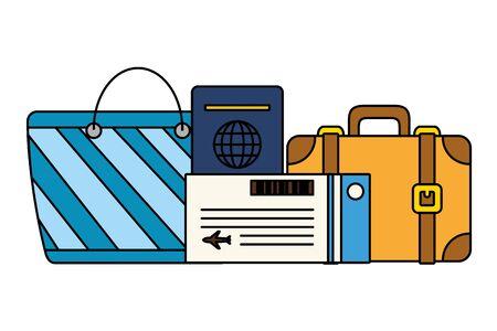 vacations suitcase handbag passport ticket vector illustration Illusztráció