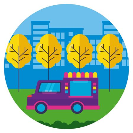 food truck park street trees design vector illustration