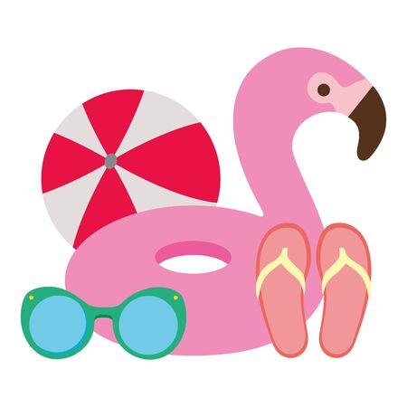 summer time holiday flamingo float flip flops sunglasses ball vector illustration