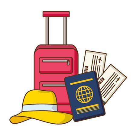 vacations suitcase passport tickets hat vector illustration