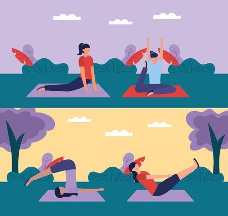 yoga outdoor park women flexing body vector illustration