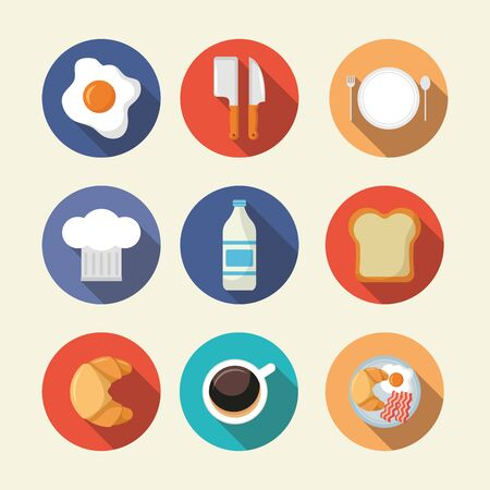 breakfast cooking icons milk coffee waffle syrup hat knives vector illustration