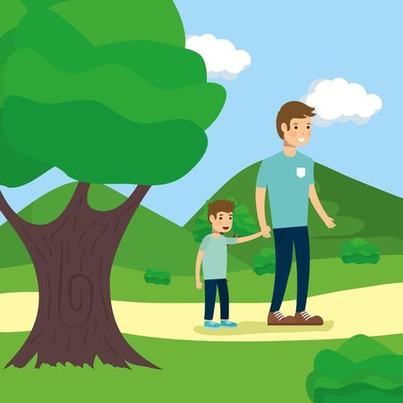 outdoor man and boy holding hands in the park activity vector illustration Ilustracja