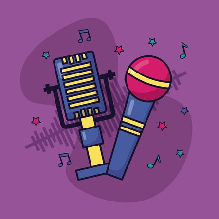 retro microphone sound music colorful background vector illustration