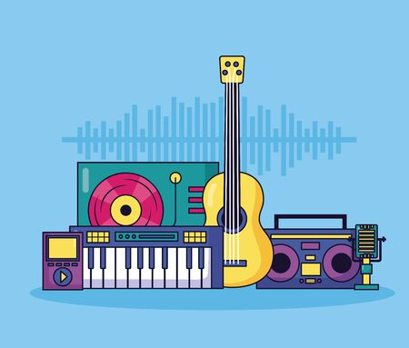synthesizer guitar boombox stereo microphone mp3 music background vector illustration Illustration