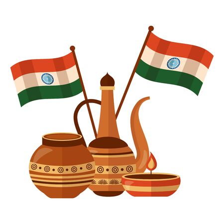 indian ceramic pots with candle and flags vector illustration design