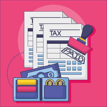 Tax and money symbol design, Finance accounting commerce market payment and government theme Vector illustration Ilustração Vetorial