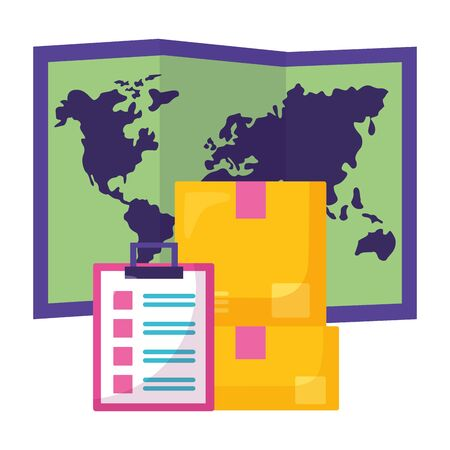 cardboard boxes stack clipboard map fast delivery business vector illustration  イラスト・ベクター素材