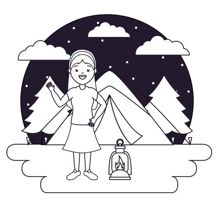 woman in the camping tent night vector illustration  イラスト・ベクター素材