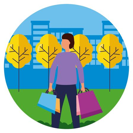 man with shopping bags in the city park vector illustration Illustration