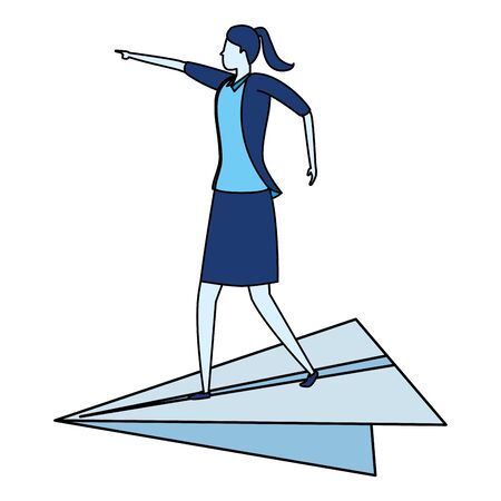 businesswoman flying paper plane business success vector illustration
