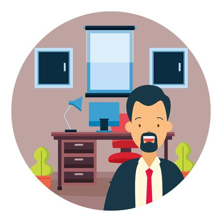 businessman desk laptop chair drawers window plants office workspace vector illustration