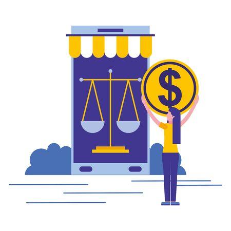 woman smartphone money online shopping vector illustration