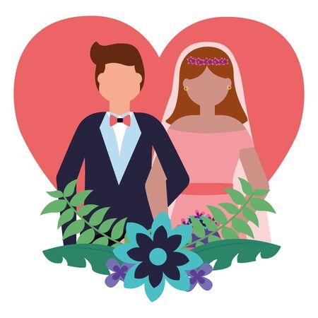 bride and groom heart love flowers wedding vector illustration 版權商用圖片 - 130174597