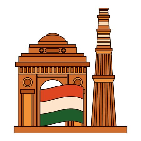 indian flag independence day with gateway mosque vector illustration design