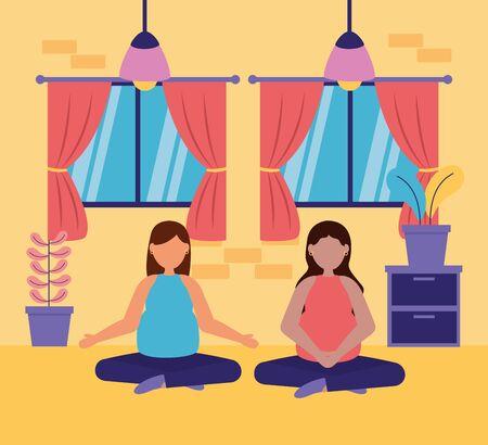 women pregnancy practicing yoga relaxing maternity scene vector illustration