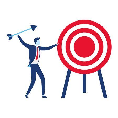 homme d'affaires et illustration vectorielle de stratégie de flèche cible