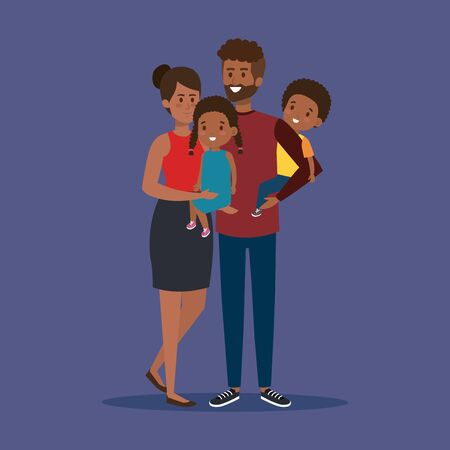 cute man and woman with their son and daughter vector illustration