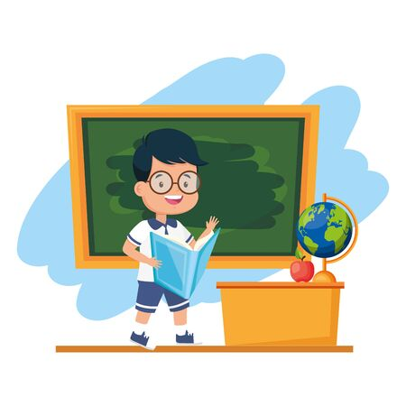 boy student reading book chalkboard desk map apple back to school vector illustration
