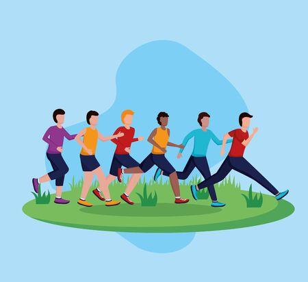 Ilustración de vector de actividad de carrera saludable de competencia de personas Ilustración de vector