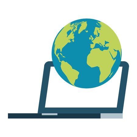 laptop computer world on white background vector illustration