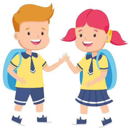 students with backpack back to school vector illustration