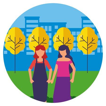 standing women together in the park vector illustration Ilustração