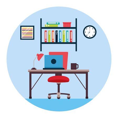 desk chair laptop lamp bookshelf clock workplace office furniture vector illustration Illustration