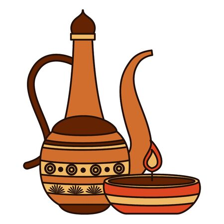 indian teapot folk and candle vector illustration design 矢量图像