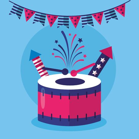 drums and garland american happy independence day vector illustration