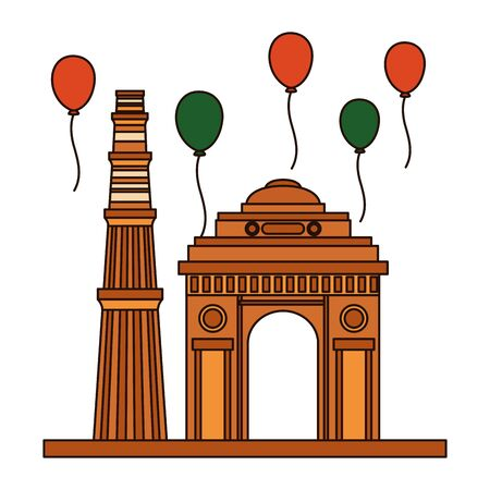 indian gateway and balloons helium floating independence day vector illustration