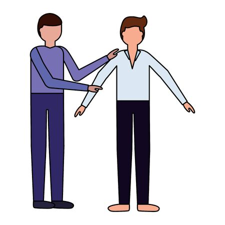 man giving support to another boy vector illustration