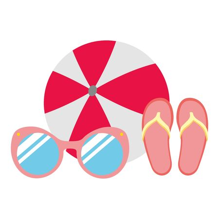 beach vacations ball sunglasses sandals  vector illustration